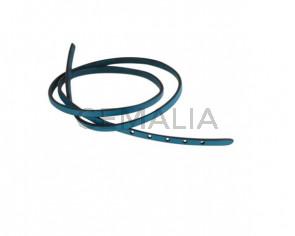 Tira de cuero para hebilla. 590x5mm. Azul turquesa-cantos negros. Calidad superior.