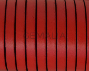 Cordon de cuero Plano 6x1,5mm. Rojo - cantos negros. Calidad superior.