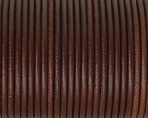 Cordon de cuero Redondo 2,5mm. Marron medio. Calidad superior.