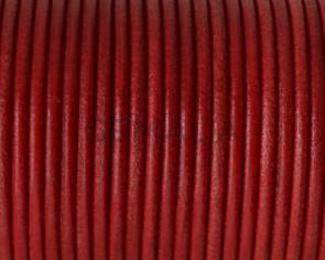 Cordon de cuero Redondo 2,5mm. Rojo. Calidad superior.
