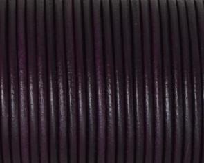 Cordon de cuero Redondo 2,5mm. Ciruela. Calidad superior.