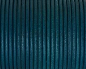 Cordon de cuero Redondo 2,5mm. Azul turquesa. Calidad superior.
