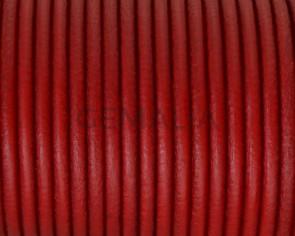 Cordon de cuero redondo 3mm. Rojo. Calidad superior.