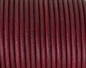 Cordon de cuero redondo 3mm. Burdeos. Calidad superior.