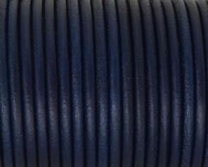 Cordon de cuero redondo 3mm. Azul marino. Calidad superior.