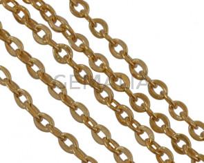Cadena de Laton eslabon 1,6x1,2mm. Dorado.