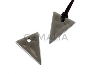 Colgante de Zamak triangulo 20x15mm. Plateado. Int.2mm