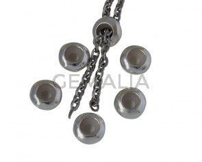 Rondel de Laton con silicona 10x4,2mm. Plata brillante. Int.3mm
