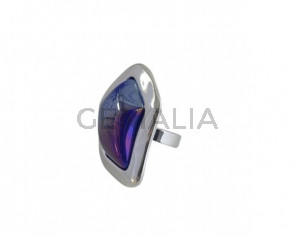 Anillo de cristal de murano y Zamak 43x34mm. Plateado-azul. Adaptable.