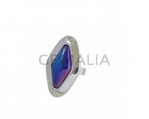 Anillo de cristal de murano y Zamak 42x25mm. Plateado-azul. Adaptable.