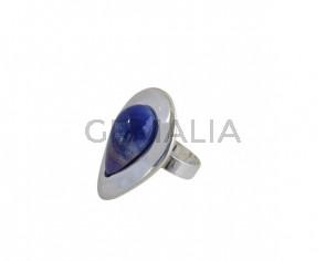 Anillo de cristal de murano y Zamak 38x27mm. Plateado-azul. Adaptable.