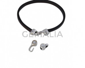 Cierre garfio de SWAROVSKI y Zamak 11x4,5mm con terminal moneda. Plateado-Crystal. Int.3x2mm
