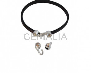Cierre garfio de SWAROVSKI y Zamak 11x4,5mm con terminal moneda. Plateado-Golden Shadow. Int.3x2mm