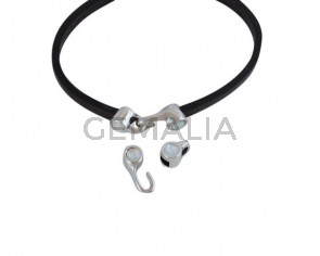 Cierre garfio de SWAROVSKI y Zamak 11x4,5mm con terminal moneda. Plateado-Light Grey Delite. Int.3x2mm