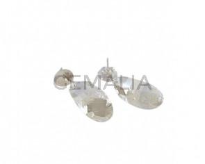 Pendientes oval de latón 25x16mm. Plata brillo. Calidad Superior