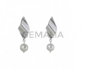 PENDIENTES Zamak y perlas cultivadas