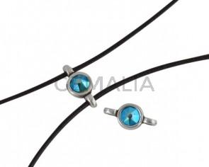 Conector de SWAROVSKI y Zamak 10x5mm. Plateado-Blue Zircon Shimmer.Int.1,2mm
