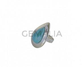 Anillo de cristal de murano y Zamak 38x27mm. Plateado-azul turquesa. Adaptable.
