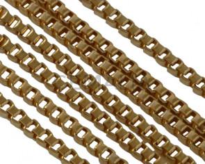 Cadena de Acero inoxidable 304 cuadrada 1,5mm. Dorado.