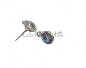 Pendiente de SWAROVSKI y Zamak con argolla. Redondo 11mm. Plateado-Vitral Light. Int.2mm