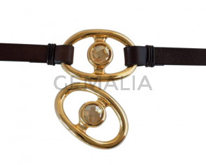 Conector de SWAROVSKI y Zamak. Moneda 42x28mm. Dorado-Golden Shadow