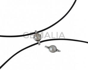 Conector de SWAROVSKI y Zamak 10x5mm. Plateado-Cream Pearl.Int.1,2mm