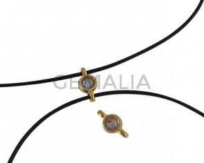 Conector de SWAROVSKI y Zamak 10x5mm. Dorado-Cappuccino Delite.Int.1,2mm
