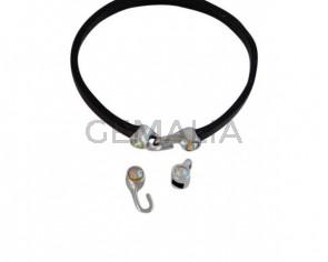 Cierre garfio de SWAROVSKI y Zamak 11x4,5mm con terminal moneda. Plateado-Citrine Shimmer. Int.3x2mm