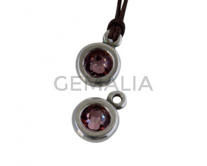 Colgante de SWAROVSKI y Zamak. Moneda 17x11mm. Plateado-AntiquePink. Int.2mm