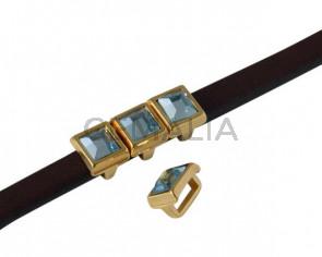 Entrepieza de SWAROVSKI cuadrado 6x6mm. Dorado-Aquamarine. Int.5x2,5mm