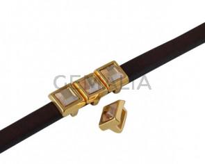 Entrepieza de SWAROVSKI cuadrado 6x6mm. Dorado-Golden Shadow. Int.5x2,5mm
