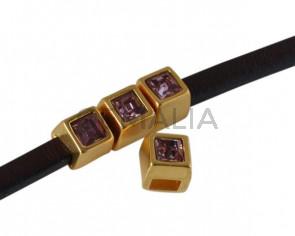 Entrepieza de SWAROVSKI cuadrado 5x5mm. Dorado-Antique Pink. Int.3x2mm