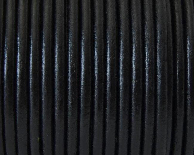 Round Leather cord. 3mm. Black