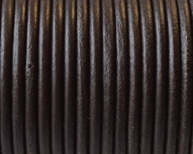 Round Leather cord. 3mm. Brown