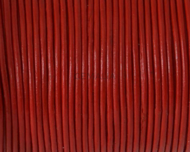 Round Leather Cord. 1mm. Red