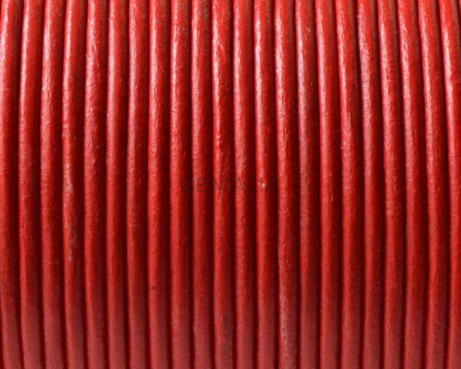 Round Leather cord. 2mm. Red