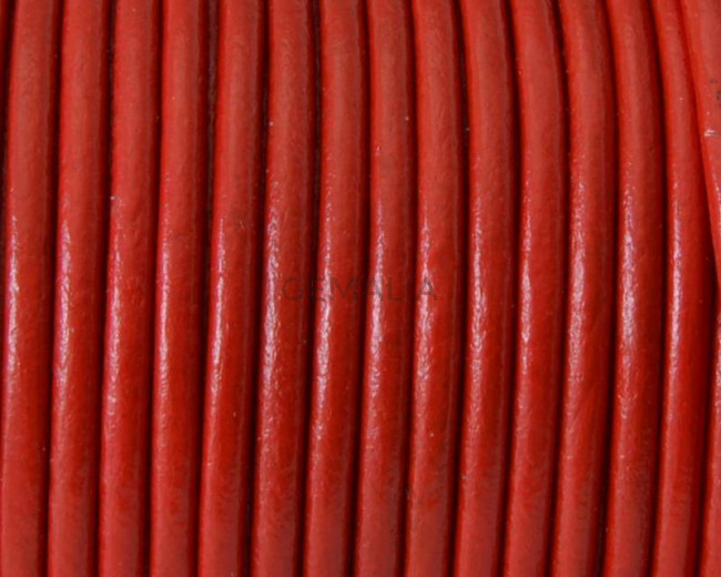 Round Leather cord. 3mm. Red