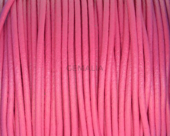Round Leather cord. 2mm. Fuchsia. Best Quality.