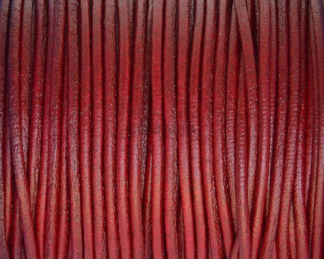 Round Leather cord. 2mm. Bordeaux. Best Quality.