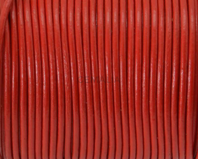 Round Leather Cord. 1.5mm. Red