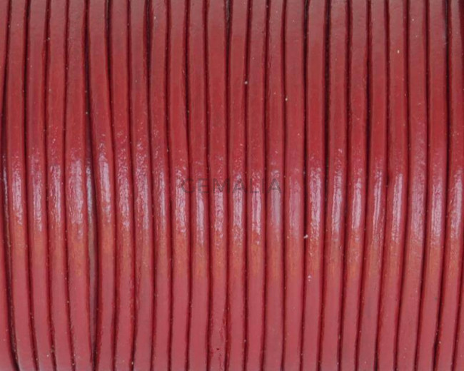 Round Leather cord. 2mm. Burgundy