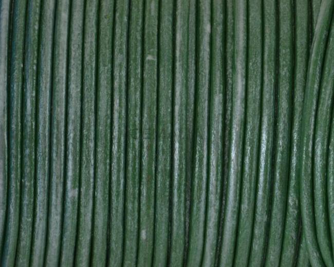 Round leather Cord. 2.5mm. Metallic Pistachio. Best Quality.