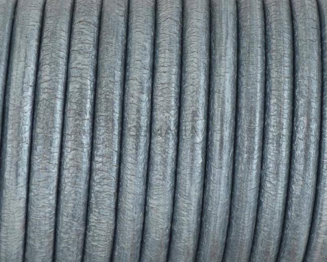 Round Leather cord. 4.5mm. Metallic dark silver. Best Quality.