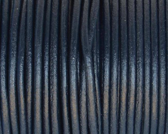 Round Leather Cord. 2mm. Navy blue. Best Quality.