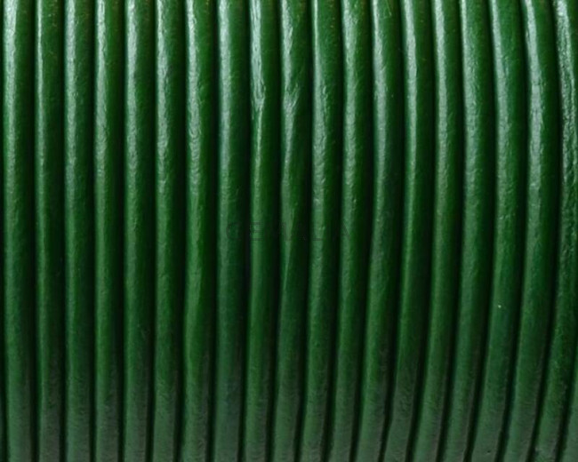 Round leather Cord. 2mm. Dark green.