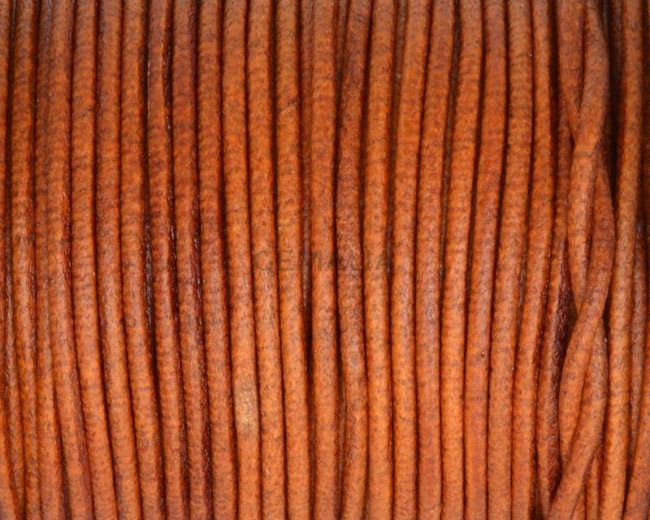 Round leather Cord. 2mm. Whisky. Best Quality.