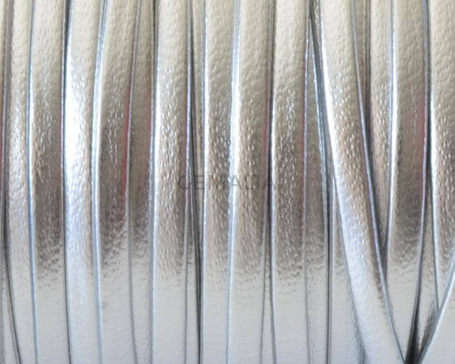Flat Round Leather cord. 3mm. Silver color. Best Quality.
