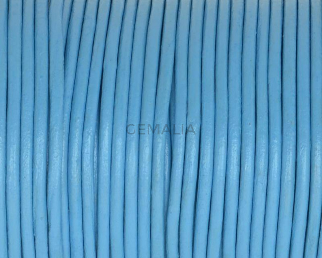 Round leather Cord. 2mm. Light blue.