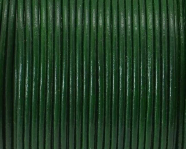 Round Leather Cord. 1mm. Dark green.