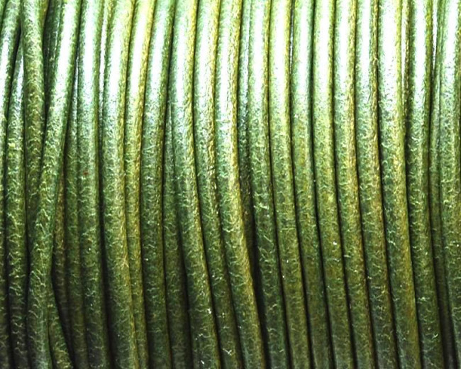 Round leather Cord. 2mm. Olive color. Best Quality.